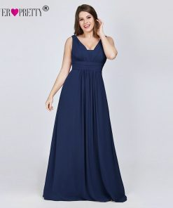 Ever Pretty Plus Size Evening Dresses New Arrival Elegant V-neck Chiffon Navy Blue A-line Long Party Gowns for Wedding Guest 1