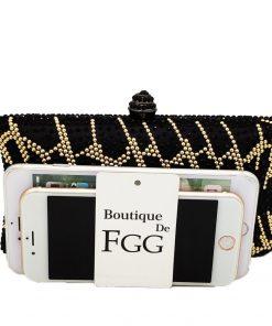Boutique De FGG Elegant Golden Striped Black Satin Crystal Evening Purse Luxury Handbags Women Diamond Wedding Party Clutch Bag 1