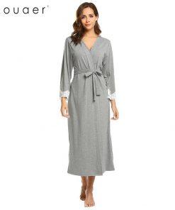 Ekouaer Women Kimono Robes Sexy Long Bathrobe Lace Trim Long Sleeve Sleepwear Robe Spa Bath Robes Female Lingerie Nightwear  1