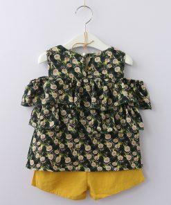 Bear Leader Girls Clothing Sets 2018 Summer New Girl Dandelion Chiffon Cake Off Shoulder Shirt Top + Cotton Shorts 2PCS Sets 1