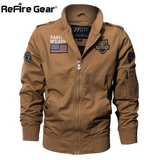 ReFire Gear Military Style Airborne Pilot Jacket Men Tactical Flight Army Jacket Autumn US Flag Air Force Motorcycle Cotton Coat 3