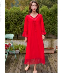 2019 Sexy V-Neck Long Sleeve Bowknot Romantic Lace Nightie Cotton Lining Nightgown Women Home Wear Sleep Shirt Night Dress T435