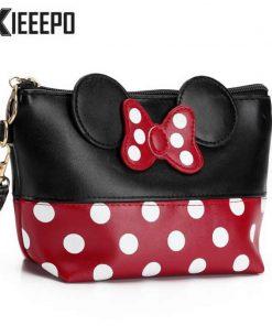 Women Travel Cosmetic Bag Cartoon Bow Hand Holding Makeup Case Zipper Make Up Handbag Organizer Storage Pouch Toiletry Bags