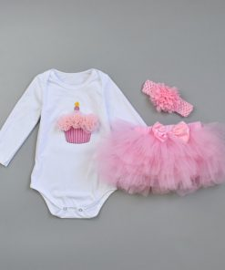 3Pcs Baby Girl clothing Set Fashion Newborn Infant Tutu Skirt Organic Cotton Cartoon Bodysuits with handband Petticoat Clothes 1