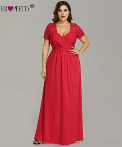 Plus Size Evening Dresses With Sleeve Ever Pretty EZ07553RD Elegant A Line V Neck Long Party Gowns Robe De Soiree Longue 2018