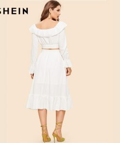 SHEIN White Off Shoulder Foldover Long Sleeve Crop Top And Pleated Skirt Set Women Vintage Two Pieces Sets 2019 Spring Co-ords 1