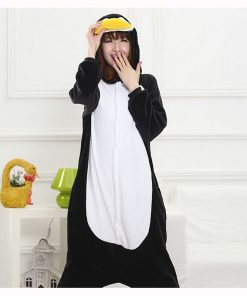 Kigurumi Penguin Onesie Women Pajama Adult Whole Animal Cosplay Costume Sleepsuit Flannel Mascot Party Winter Warm Sleepwear  1