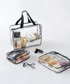 Transparent Clear Travel Cosmetic Bags PVC leather Zipper Makeup Bags Organizer Beauty Case Toiletry Bag Bath Wash Make Up Case 1