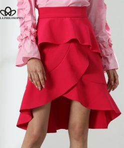 Bella Philosophy 2018 Asymmetrical Ruffle Skirt women summer high low skirt rose red irregular casual layered 1