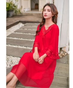 2019 Sexy V-Neck Long Sleeve Bowknot Romantic Lace Nightie Cotton Lining Nightgown Women Home Wear Sleep Shirt Night Dress T435 1