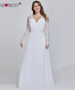 Robe De Soiree 2019 New Ever Pretty Purple Long Sleeve Lace A-line Chiffon Long Party Gowns Elegant Plus Size Evening Dresses 1