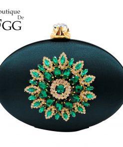 Boutique De FGG Women's Fashion Flower Crystal Clutch Handbag and Purse Ladies Evening Wedding Party Chain Shoulder Bag