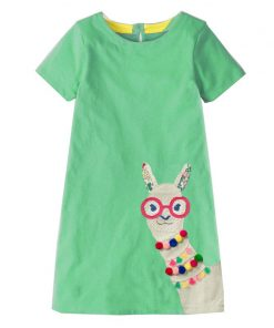 Baby Girl Clothes Unicorn Dress Animal Applique Kids Party Dresses for Girls Costume Princess Dress Cotton Tunic Girls Dress 1
