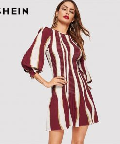 SHEIN Color Block Bishop Sleeve Smock Dress Women 2019 Spring Ruffle Hem Slim Elegant Short 3/4 Sleeve Slim Sheath Dresses