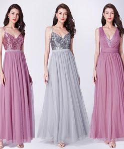 Long Prom Dresses 2018 EP07455OD Elegant A Line V Neck Tulle Wedding Party Gowns With Sequin Vestidos De Fiesta Elegantes Largos