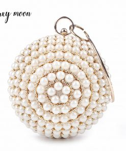 pearls evening bags designer round shape full dress party purse gold black beaded day clutch handbag chains shoulder bag