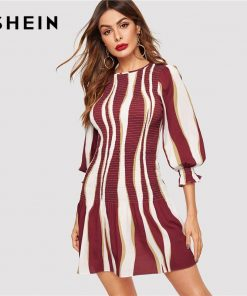 SHEIN Color Block Bishop Sleeve Smock Dress Women 2019 Spring Ruffle Hem Slim Elegant Short 3/4 Sleeve Slim Sheath Dresses 1