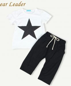 Bear Leader Baby Clothing Sets 2018 Summer Style Baby Girls Boys Clothes Black Letter T-shirt+Imitation cowboy pants 2pcs suit 1