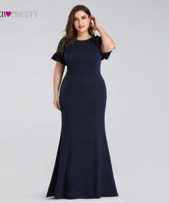Plus Size Evening Dresses Long 2019 Navy Blue Lace Sleeve Mermaid Wedding Guest Gowns Ever Pretty EZ07768 Elegant Evening Gowns