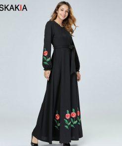 Siskakia Elegant Ethnic Women Dresses A line Chic Floral Embroidery Maxi Dress Muslim Black Ankle-Length Round Neck Long Sleeve 1