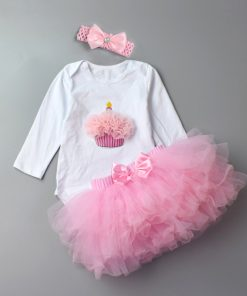 3Pcs Baby Girl clothing Set Fashion Newborn Infant Tutu Skirt Organic Cotton Cartoon Bodysuits with handband Petticoat Clothes