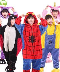 EOICIOI Kids Pajamas Flannel Animal Pegasus Stitch Unicorn Cosplay Pyjamas For Boys Girls Winter Warm Children Sleepwear Onesies