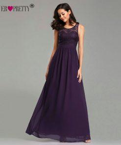 Ever Pretty 2019 Evening Dresses Long EZ07647 Sleeveless Purple A-line Chiffon Lace Appliques Elegant Special Occasion Dresses 1