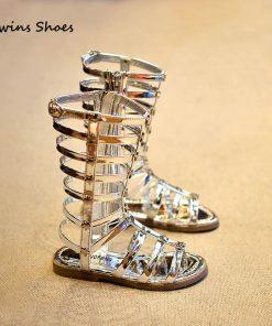 CCTWINS KIDS summer shoe girl sandal children knee high gladiator sandal kid summer sandal for girl gold silver kid boot B133 1