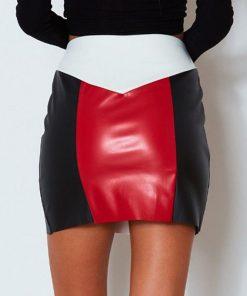 Bella Philosophy 2019 Spring Women Sexy Collision Spliced Buttock Short Skirt Hight Waist Ring Zipper PU Leather Skirt  1