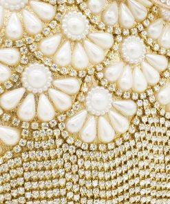 Boutique De FGG Socialite Egg Shape Women Fashion Gold Crystal Purse Evening Bags Diamond Tassel Handbags Wedding Beaded Clutch 1