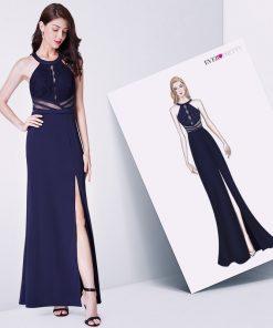 Navy Blue Evening Prom Dress Ever Pretty EP07390NB Vestidos De Fiesta Elegant A Line Off Shoulder Cut-Out Formal Gowns With Slit