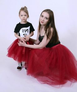 Mother Daughter Two Piece Mesh Tulle Skirt 2018 Fashion 7 layers Fluffy Tulle Skirts Mom And Daughter Matching Clothes Family  1