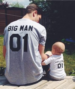 (Big Man & Little Man) Father Son Matching Tops Tees Family Matching Outfits Family Look Creative T-shirt Sets New Family Fitted 1