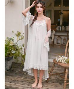 2019 Sleepwear Women Night Wear Robe Gown Set Silk Lace Kimono Sexy Nightie Cotton Lining Slip Dress Bathrobe Peignoir Sets T429