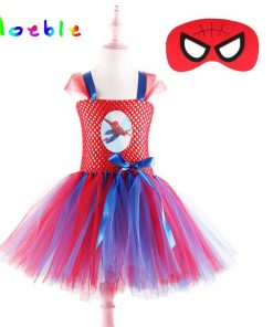 Superhero Spider-man Children Kids Party Dresses Girl Halloween Costume Tutu Dress with Mask Baby Girls Birthday Vestido Cosplay