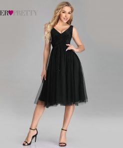 Sexy Homecoming Dresses Ever Pretty EZ03078 Plus Size Black A-line V-neck Vlevet Sparkle Short Gowns Tulle Graduation Dresses