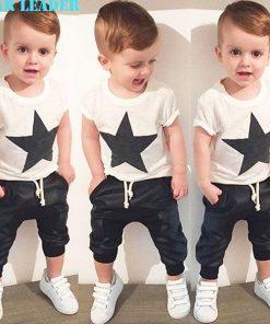 Bear Leader Baby Clothing Sets 2018 Summer Style Baby Girls Boys Clothes Black Letter T-shirt+Imitation cowboy pants 2pcs suit
