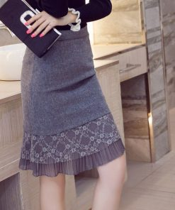 Plus size women autumn and winter new arrival lace decoration slim hip slim bust skirt short skirt female 1