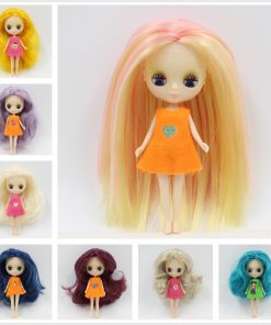 blyth mini doll 10CM nude doll colorful long hair Pullip