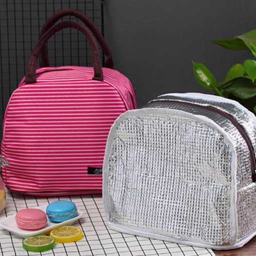 Women Fashion Stripe Lunch Bags Aluminum Thicken Portable picnic Food Fresh Keep Insulated Cooler Oxford Thermal Storage Cases 4