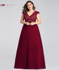 Plus Size Prom Dresses Long 2019 Ever Pretty EP07344 Elegant Burgundy A-line Sleeveless Lace Appliques V-neck Vestidos De Gala
