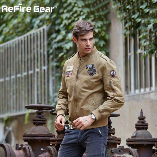 ReFire Gear Tactical Air Force Military Bomber Jacket Men Autumn Cotton Flight Pilot Army Jacket Motorcycle Cargo Coat Jackets 4