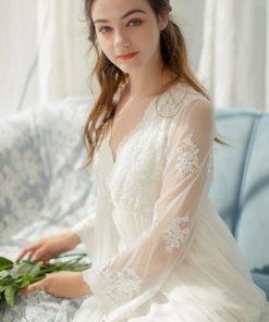 Embroidery Robe Gown Set Autumn Women Sleepwear Set Peignoir Sets Lace Bathrobe Long Sleeve Women Robe Sleepwear Bride T274 1