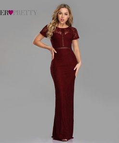 Ever Pretty Evening Dresses Long 2019 Sexy Little Mermaid Full Lace Short Sleeve See Through Special Occasion Gowns EZ07752