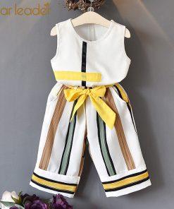 Bear Leader Girls Clothing Sets 2018 New Summer Fashion girls sleeveless Splicing design T-shirt+Casual pants 2Pcs Girls Clothes