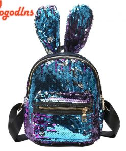 Yogodlns Women Sequins Backpack Cute Rabbit Ears Double Shoulder Bag Mini Backpacks Children Girls Sequined Travel Knapsack