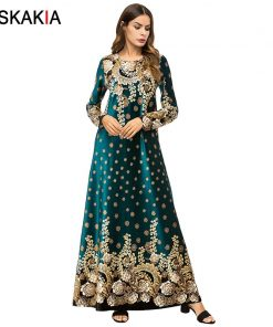 Siskakia Velvet Floral long Dress Autumn Fall 2018 Vintage Print Maxi Dresses Urban Casual Muslim Eid Adha Ramadan Clothing UAE