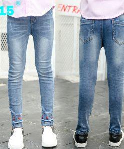 A15 Teenage Girls Jeans Pants Kids Jeans Girl Leggings Children Jeans Toddler Girl Jean Pants Skinny Pencil Pants Size 4 8 10 12 1