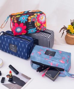 DAUNAVIA Cosmetic Bags for women Waterproof print wash bags ladies designer fashion Make up Bag Cosmetic storage bag for Travel 1