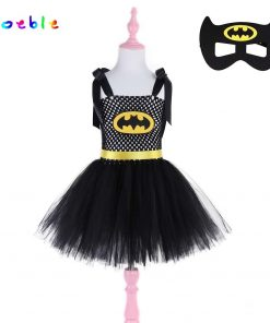 Batman Kids Halloween Party Dresses for Girl Girls Tutu Dress with Mask Baby Christmas Superhero Cosplay Costume Girl Dresses
